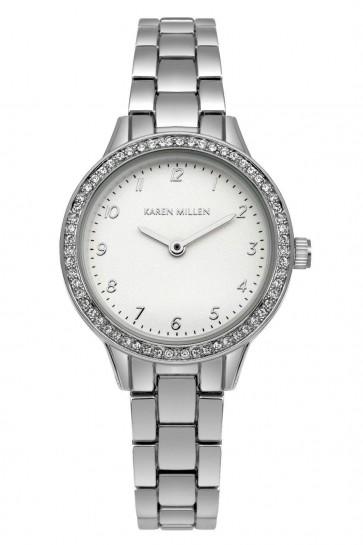 Karen Millen Ladies Womens Quartz Wrist Watch Silver Strap SKM004SM