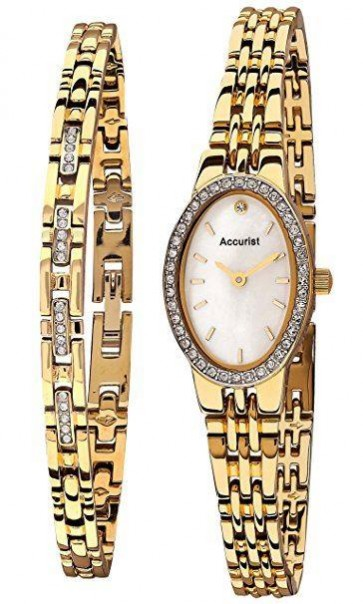 Accurist Ladies Watch White Dial Stainless Steel Bracelet LB1349W