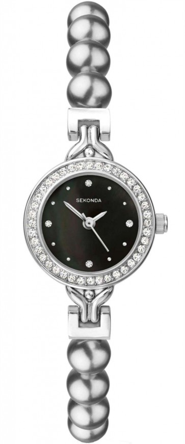 Sekonda Ladies Womens Wrist Watch Black Face Metal Strap 4212