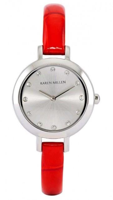 Karen Millen Wrist Watch Red Strap Silver Dial WA101R