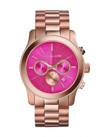 Michael Kors Runway Ladies Chronograph Watch Rose Gold PVD Bracelet Pink Dial MK5931