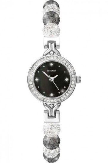 Sekonda Ladies Watch Silver and Black Bracelet Black Dial SK4214