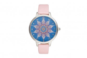 Charlotte Raffelli Ladies Watch Patterned Dial Pale Pink Leather Strap CRR016