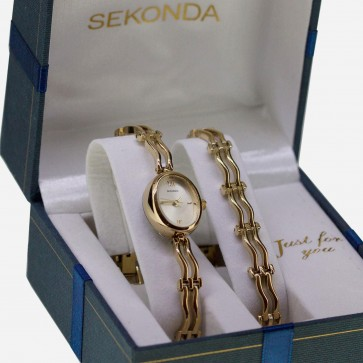 Sekonda Ladies Watch and Bracelet Set Gold PVD SK2045G