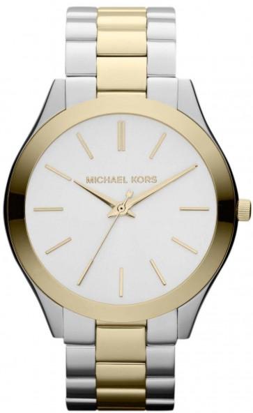 Michael Kors Slim Runway Ladies Watch Two Tone Bracelet Silver Dial MK3198