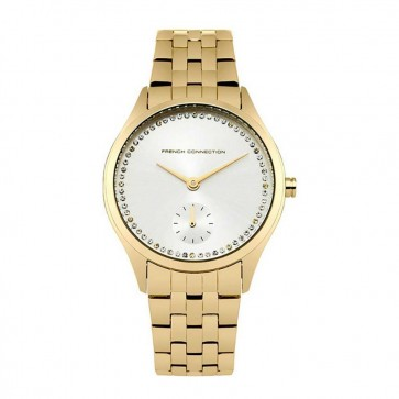 French Connection Womens Ladies Wrist Watch Gold Strap Silver Face FC1272GM