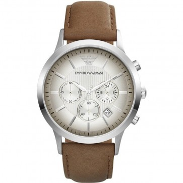 Emporio Armani Mens Chronograph Watch Brown Leather Strap White Dial AR2471