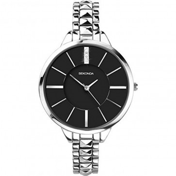 Sekonda Ladies Womens Watch  Black face Silver Strap 2035