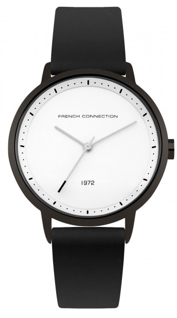 French Connection Womens Watch Black Dial White Face Silicone Strap FC1289BB