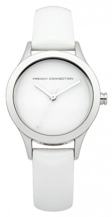 French Connection Womens Watch with Silver Dial Silver Leather Strap FC1206W