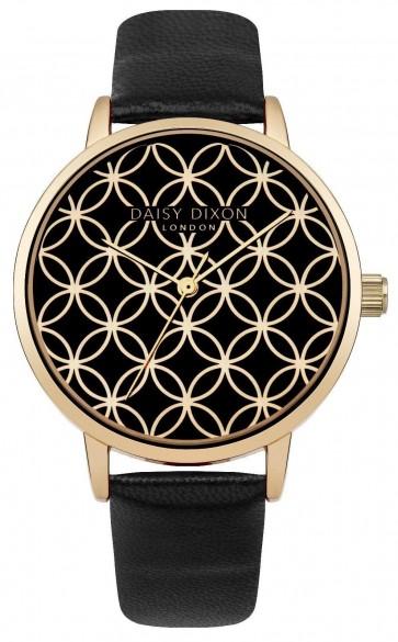 Daisy Dixon Ladies Penny Wrist Watch Gold Dial Black Strap DD034BG