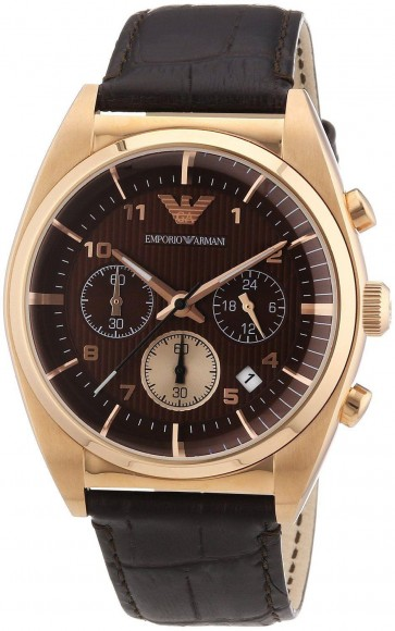 Emporio Armani Mens Watch Brown Leather Strap Brown Dial AR0371