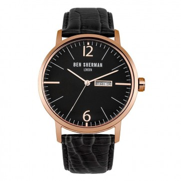 Ben Sherman Mens Gents Wrist Watch Leather Strap Set Black Face WB046BRG