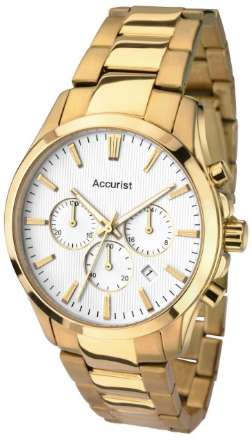 Accurist Mens Chronograph Watch White Dial Gold PVD Case and Bracelet MB641