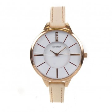 Sekonda Ladies Womens Watch  White Face Beige Leather Strap 2013