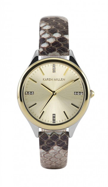 Karen Millen Womens Ladies Wrist Watch Snakeskin Strap KMWA102TG