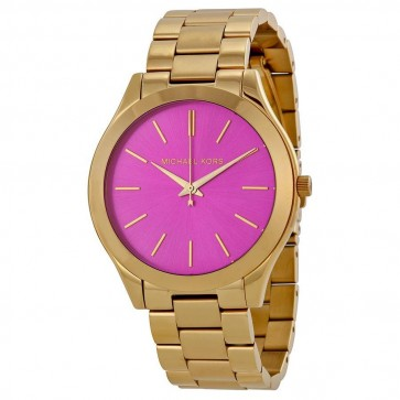 Michael Kors Women's Slim Runway Gold Tone Pink Dial Watch MK3264