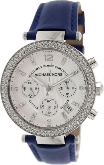 Michael Kors Parker Chronograph Ladies Watch Silver Dial Blue Leather Strap MK2293