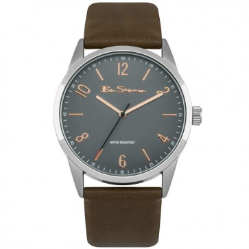 Ben Sherman Gents Mens Wrist Watch Grey Face Brown Strap BS152