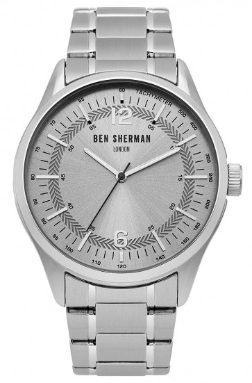 Ben Sherman Mens Gents Wrist Watch Silver Strap White Face WB066SM