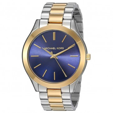 Michael Kors Ladies Slim Runray Watch Two Tone Stainless Steel Case and Bracelet Blue Dial MK3479