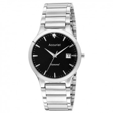 Accurist Mens Watch Black Dial Stainless Steel Case and Bracelet MB1066B