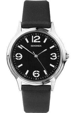 Sekonda Mens Watch Black Leather Strap Black Dial 3285