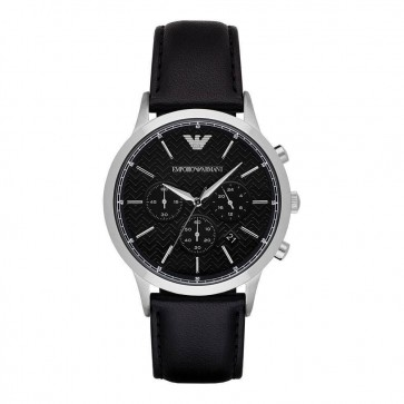 Emporio Armani Mens Gents Watch Black Leather Strap Black Dial AR8034