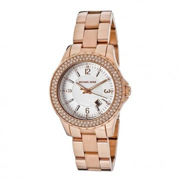 Michael Kors Madison Glitz Womens Ladies Watch Rose Gold Stainless Steel Bracelet White Dial MK5403