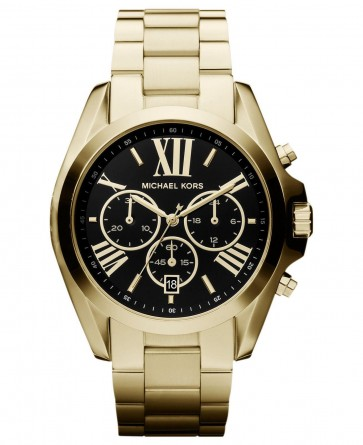 Michael Kors Bradshaw Ladies Chronograph Watch Gold Bracelet Black Dial MK5739