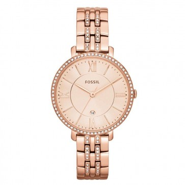 Fossil Ladies Jaqueline Watch Rose Gold Bracelet Gold Dial ES3546