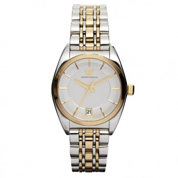 Emporio Armani Ladies Watch Two Tone Bracelet Silver Dial AR0380