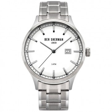 Ben Sherman Mens Gents Wrist Watch Silver Strap White Face WB056SM