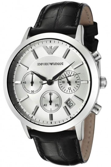 Emporio Armani Mens Classic Chronograph Watch on Black Leather Strap AR2432