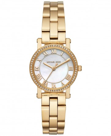 Michael Kors Petite Norie Womens Ladies Watch Gold Stainless Steel Bracelet White Mother Of Pearl Dial MK3682