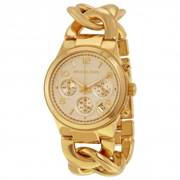 Michael Kors Ladies Chronograph Watch Gold Bracelet Gold Dial MK3131