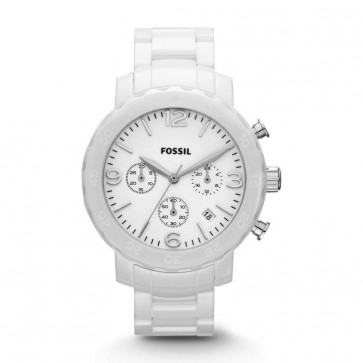 Fossil Ladies Chronograph Watch Ceramic Case & Strap White Dial CE1075