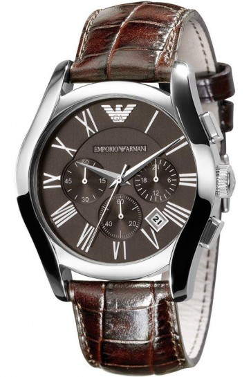 Emporio Armani Mens Chronograph Watch Brown Strap Brown Dial AR0671