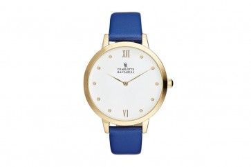 Charlotte Raffelli Ladies Watch White Dial Blue Leather Strap CRB008