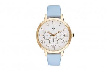 Charlotte Raffaelli Ladies Watch White Dial Cyan Blue Leather Strap CRB011