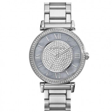 Michael Kors Ladies Caitlin Crystal Pave Glitz Pearl Womens Watch MK3331