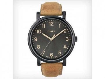 Timex Original Unisex Quartz Watch  Black Dial Brown Leather Strap T2N677
