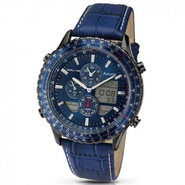Accurist Mens Chronograph Watch Blue Dial Blue Strap Alarm World Timer MB1036NN