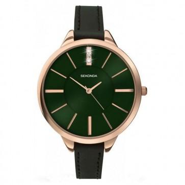 Sekonda Ladies Womens Wrist Watch Green Dial Strap Gold Dial 2249