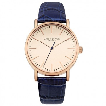 Daisy Dixon Georgia Womens Ladies Wrist Watch Blue Strap Gold Face DD006URG