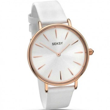 Sekonda Ladies Womens Wrist Watch Silver Face Gold Dial Leather Strap 2209