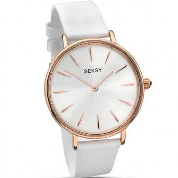Sekonda Ladies Womens Wrist Watch Silver Face Gold Dial Leather Strap 2209