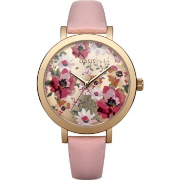 Oasis Womens Ladies Wrist Watch Floral Face Pink Strap B1543