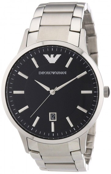 Emporio Armani AR2457 Sportivo Black Dial Stainless Steel Mens Watch