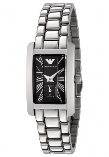 Emporio Armani Ladies Watch Stainless Steel Bracelet Black Dial AR0170